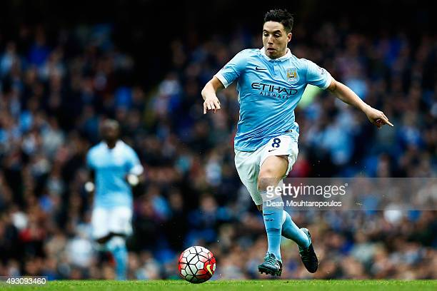 Samir Nasri of Manchester City in action during the Barclays Premier League match between Manchester City and AFC Bournemouth at Etihad Stadium on...