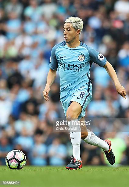 Samir Nasri of Manchester City in action during the Premier League match between Manchester City and West Ham United at Etihad Stadium on August 28...