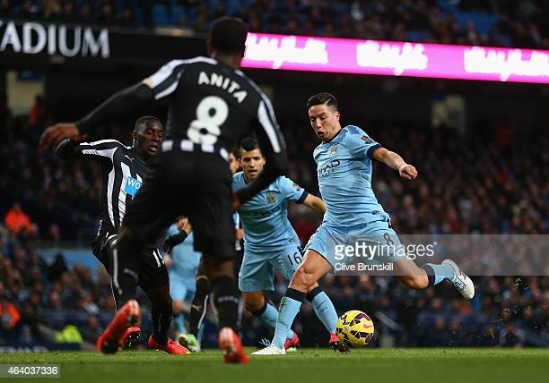 Samir Nasri of Manchester City runs on goal to score their second during the Barclays Premier League match between Manchester City and Newcastle...