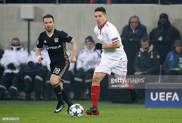 Samir Nasri of Sevilla FC and Mathieu Valbuena of Lyon in action during the UEFA Champions League match between Olympique Lyonnais and Sevilla FC at...
