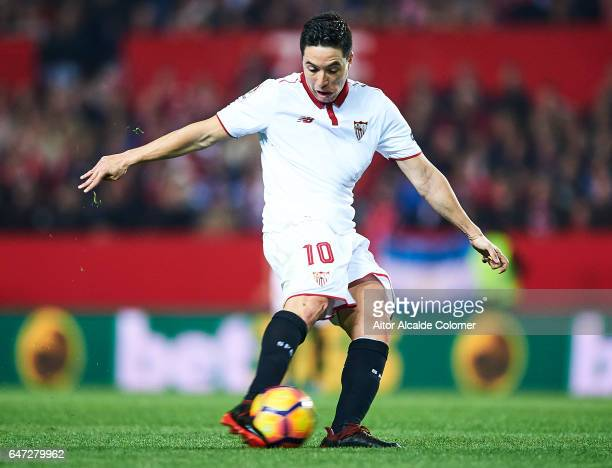 Samir Nasri of Sevilla FC in action during the La Liga match between Sevilla FC and Athletic Club de Bilbao at Estadio Ramon Sanchez Pizjuan on March...