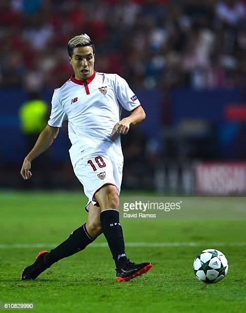 Samir Nasri of Sevilla FC runs with the ball during the UEFA Champions League Group H match between Sevilla FC and Olympique Lyonnais at the Ramon...