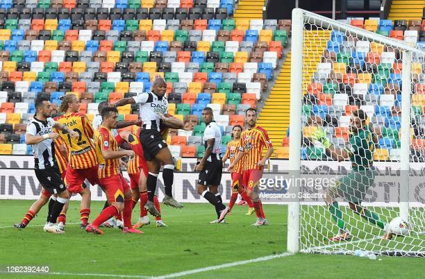 Samir of Udinese Calcio scores the opening goal during the Serie A match between Udinese Calcio and US Lecce at Stadio Friuli on July 29, 2020 in...