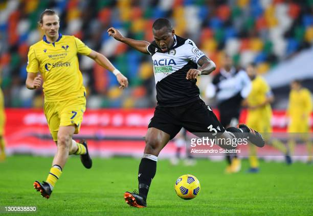 Samir of Udinese looks to pass the ball during the Serie A match between Udinese Calcio and Hellas Verona FC at Dacia Arena on February 07, 2021 in...
