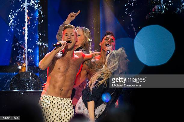 Samir Viktor perform their song Bathe Naked during the Melodifestivalen 2016 Final at Friends Arena on March 12 2016 in Stockholm Sweden