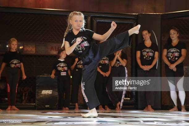 Samira Kindermann performs during the Kick Chick challenge during the Martial Arts SuperShow Europe on August 12 2018 in Dortmund Germany