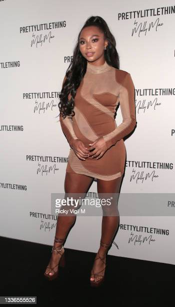 Samira Mighty seen attending PrettyLittleThing by Molly Mae - launch party at Novikov on August 26, 2021 in London, England.