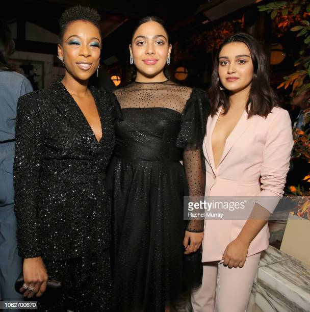 Samira Wiley Allegra Acosta and Ariela Barer attend the 2018 Hulu Holiday Party at Cecconi's Restaurant on November 16 2018 in Los Angeles California
