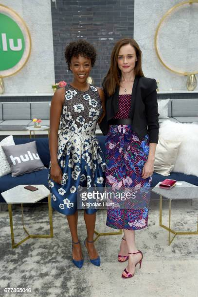 Samira Wiley and Alexis Bledel attend the Hulu Upfront Brunch at La Sirena Ristorante on May 3 2017 in New York City