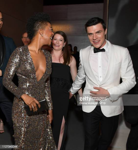 Samira Wiley and Finn Wittrock attend the 2019 Vanity Fair Oscar Party hosted by Radhika Jones at Wallis Annenberg Center for the Performing Arts on...