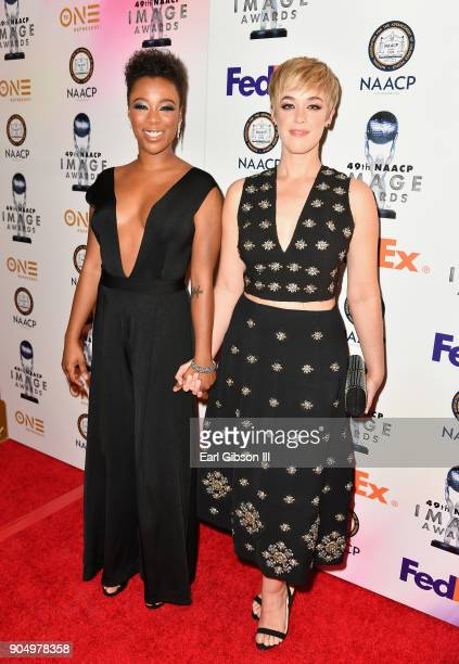 Samira Wiley and Lauren Morelli at the 49th NAACP Image Awards NonTelevised Awards Dinner at the Pasadena Conference Center on January 14 2018 in...
