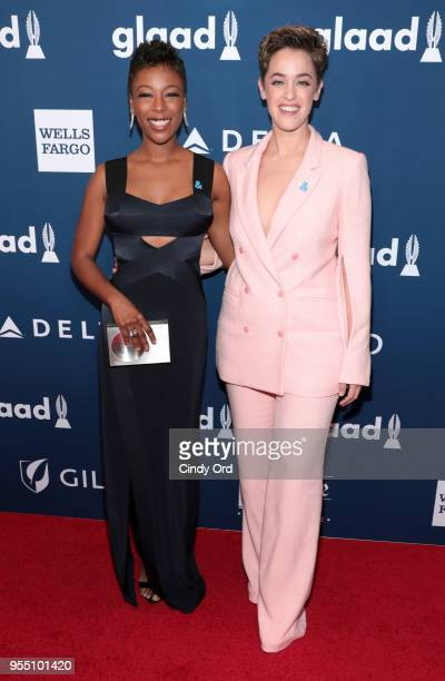 Samira Wiley and Lauren Morelli attend the 29th Annual GLAAD Media Awards at The Hilton Midtown on May 5 2018 in New York City