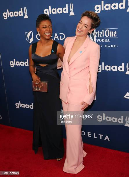 Samira Wiley and Lauren Morelli attend the 29th Annual GLAAD Media Awards at Mercury Ballroom at the New York Hilton on May 5 2018 in New York City