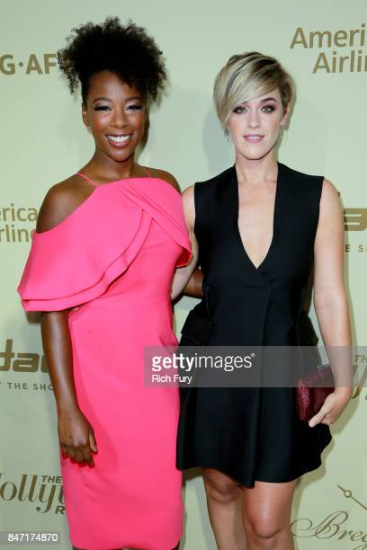 Samira Wiley and Lauren Morelli attend The Hollywood Reporter and SAGAFTRA Inaugural Emmy Nominees Night presented by American Airlines Breguet and...