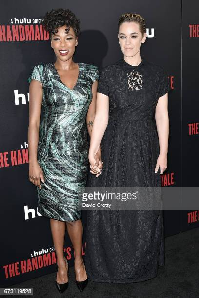 Samira Wiley and Lauren Morelli attend the Premiere Of Hulu's 'The Handmaid's Tale' Arrivals at The Dome at Arclight Hollywood on April 25 2017 in...