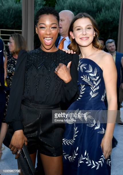 Samira Wiley and Millie Bobby Brown attend Ted Sarandos' 2018 Annual Netflix Emmy Nominee Toast on September 15 2018 in Los Angeles California