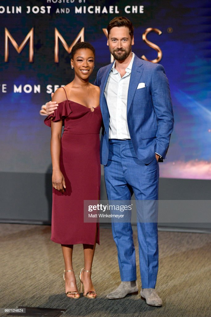 Samira Wiley (L) and Ryan Eggold attend the 70th Emmy Awards Nominations Announcement at Saban Media Center on July 12, 2018 in North Hollywood, California.