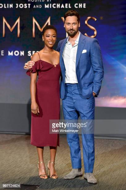 Samira Wiley and Ryan Eggold attend the 70th Emmy Awards Nominations Announcement at Saban Media Center on July 12 2018 in North Hollywood California