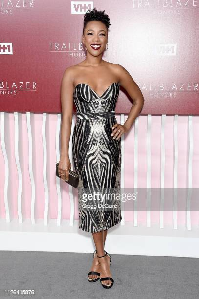Samira Wiley arrives at VH1 Trailblazer Honors at The Wilshire Ebell Theatre on February 20 2019 in Los Angeles California