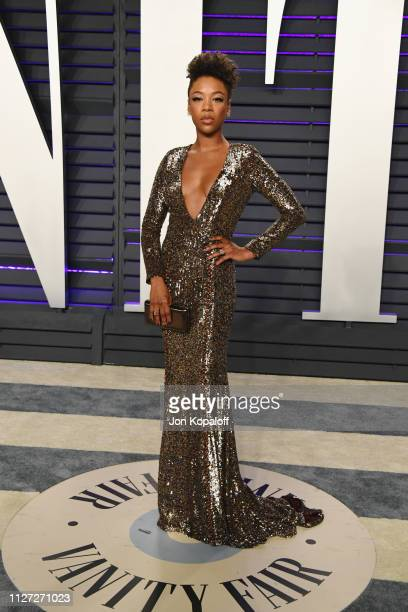 Samira Wiley attends the 2019 Vanity Fair Oscar Party hosted by Radhika Jones at Wallis Annenberg Center for the Performing Arts on February 24 2019...