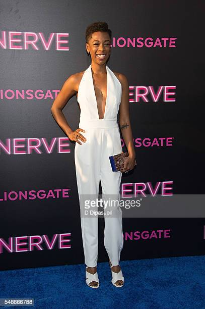 Samira Wiley attends the 'Nerve' New York premiere at SVA Theater on July 12 2016 in New York City