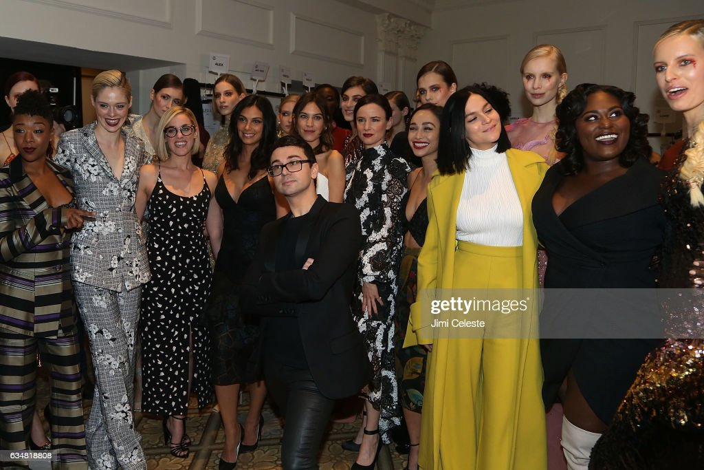Samira Wiley, Coco Rocha, Lauren Morelli, Morena Baccarin, Christian Siriano, Alexa Chung, Juliette Lewis, Cara Santana, Leigh Lezark, Danielle Brooks and Karolina Kurkova pose backstage at the Christian Siriano show during 2017 February New York Fashion Week in the Grand Ballroom at The Plaza Hotel on February 11, 2017 in New York City.