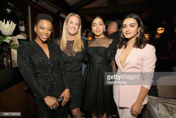 Samira Wiley Hulu CMO Kelly Campbell Allegra Acosta and Ariela Barer attend the 2018 Hulu Holiday Party at Cecconi's Restaurant on November 16 2018...