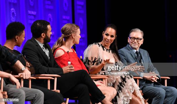Samira Wiley O T Fagbenle Yvonne Strahovski and Amanda Brugel and Warren Littlefield attend The Paley Center For Media's 35th Annual PaleyFest Los...
