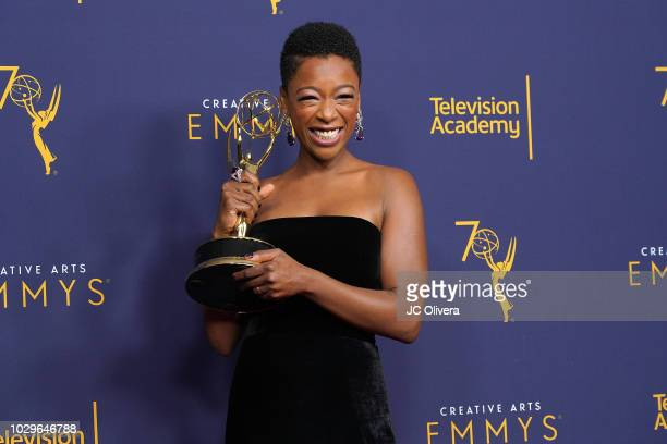 Samira Wiley poses in the press room during the 2018 Creative Arts Emmy Awards day 1 at Microsoft Theater on September 8 2018 in Los Angeles...