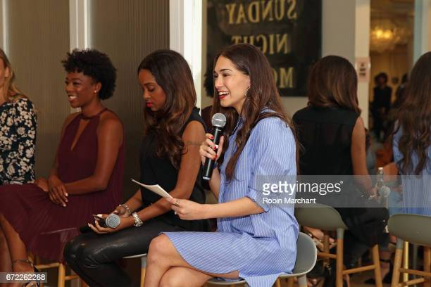 Samira Wiley Tamika Mallory and Audrey Gelman speak on a panel during a VIP screening of the Original Series 'The Handmaid's Tale' presented by Hulu...