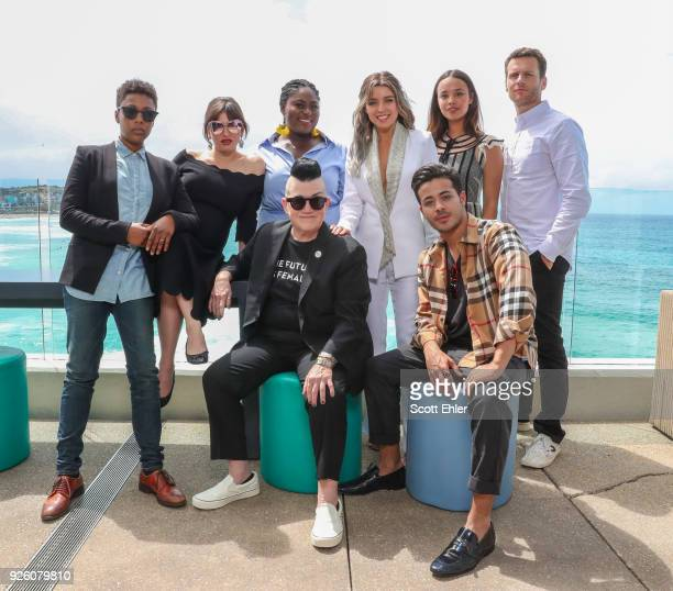 Samira Wiley Yael Stone Danielle Brooks Lea Delaria Dannii Minogue Alisha Boe Christian Navarro and Jonathan Groff at Bondi Beach on March 2 2018 in...