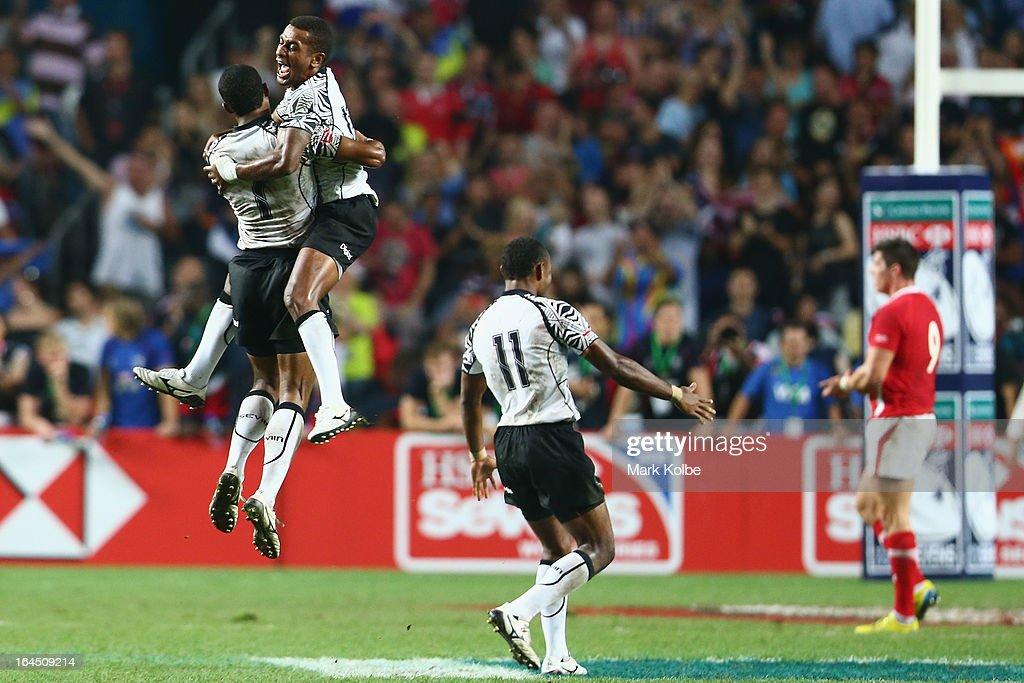 Samisoni Viriviri and Emosi Mulevoro of Fiji celebrate after winning the cup final match between Fiji and Wales during day three of the 2013 Hong Kong Sevens at Hong Kong Stadium on March 24, 2013 in So Kon Po, Hong Kong.