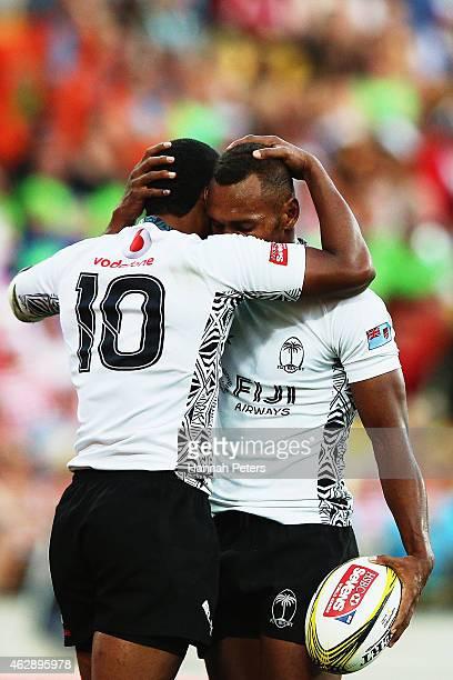 Samisoni Viriviri of Fiji celebrates with Osea Kolinisau of Fiji after winning the Plate Final match between Australia and Fiji in the 2015...