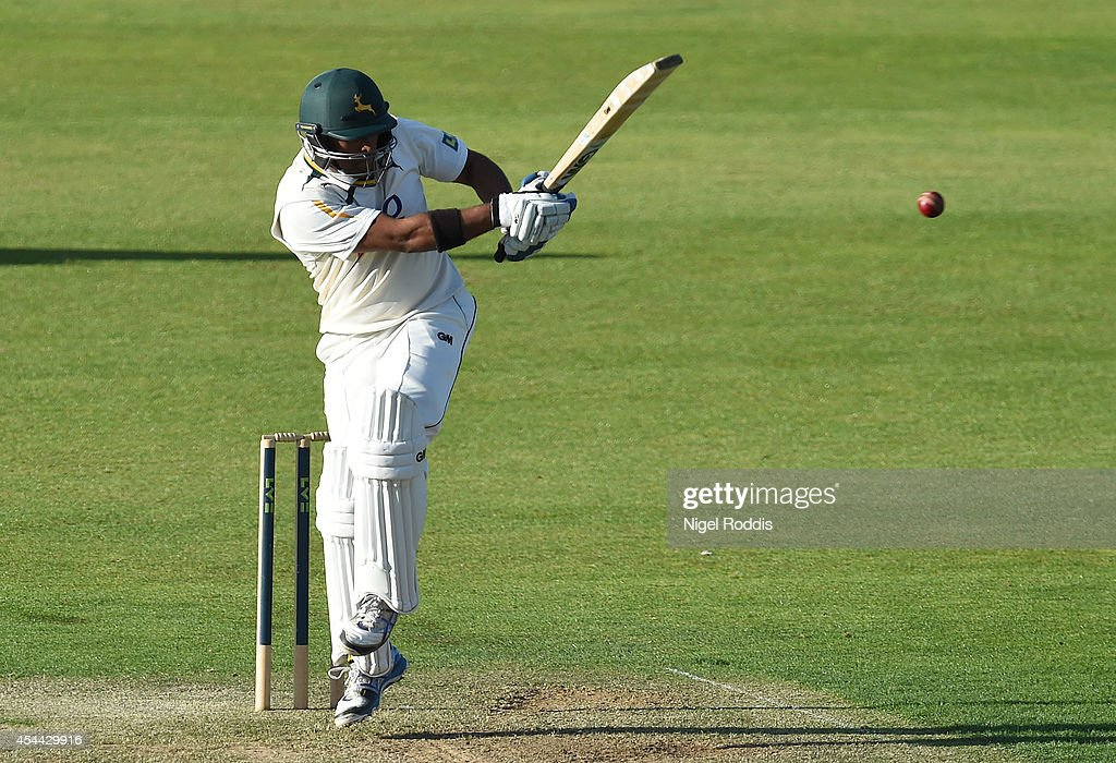 Samit Patel in action of Nottinghamshire during the LV County Championship match between Durham and Nottinghamshire at The Riverside on August 31, 2014 in Chester-le-Street, England.