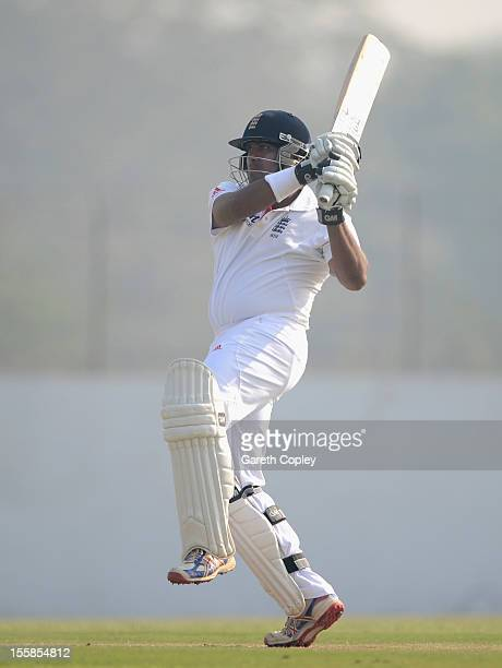 Samit Patel of England bats during day two of the tour match between England and Haryana at Sardar Patel Stadium ground B on November 9, 2012 in...