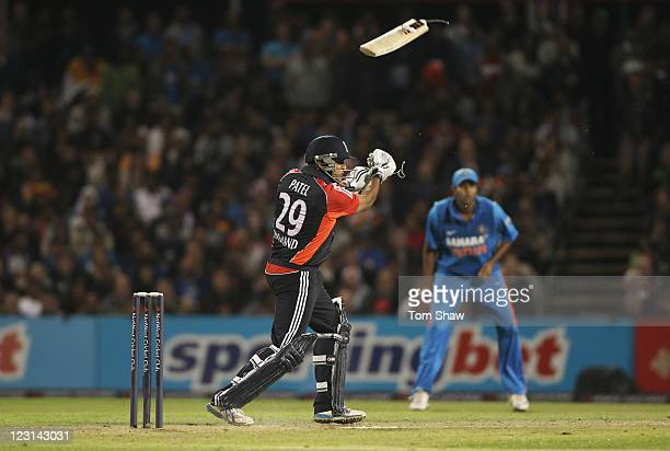 Samit Patel of England breaks his bat during the NatWest International Twenty20 Match between England and India at Old Trafford on August 31, 2011 in...