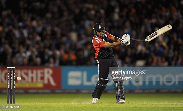 Samit Patel of England breaks his bat while playing a shot during the NatWest International Twenty20 Match between England and India at Old Trafford...