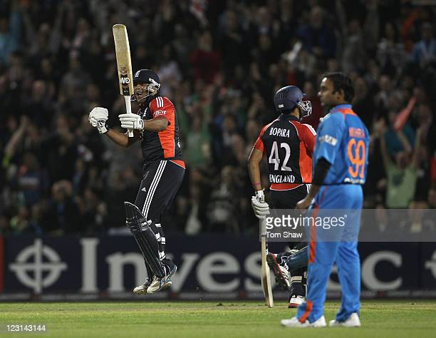 Samit Patel of England celebrates hitting the winning runs during the NatWest International Twenty20 Match between England and India at Old Trafford...