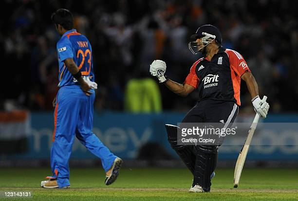 Samit Patel of England celebrates winning the NatWest International Twenty20 Match between England and India at Old Trafford on August 31, 2011 in...