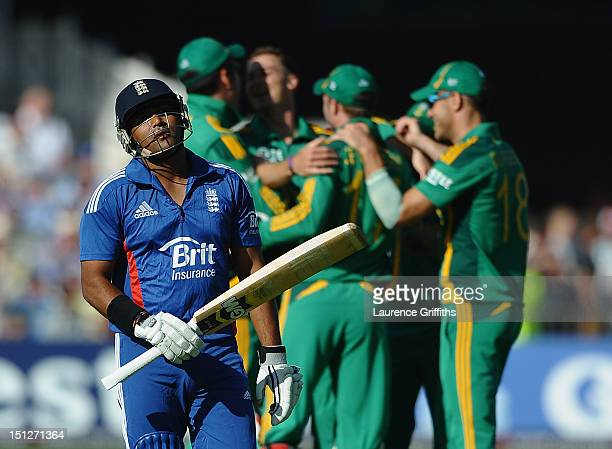 Samit Patel of England shows his dissapointment after being caught for 9 runs off the bowling of Dale Steyn of South Africa during the 5th NatWest...