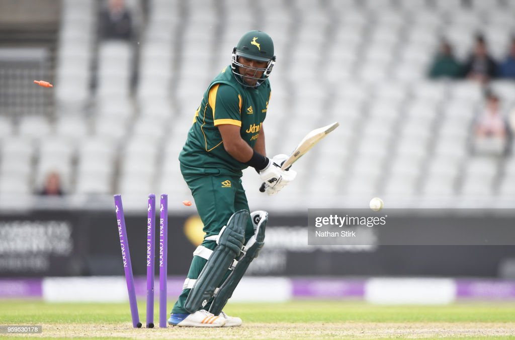 Samit Patel of Nottingham is bowled during Royal London One-Day Cup match between Lancashire and Nottinghamshire at Old Trafford on May 17, 2018 in Manchester, England.