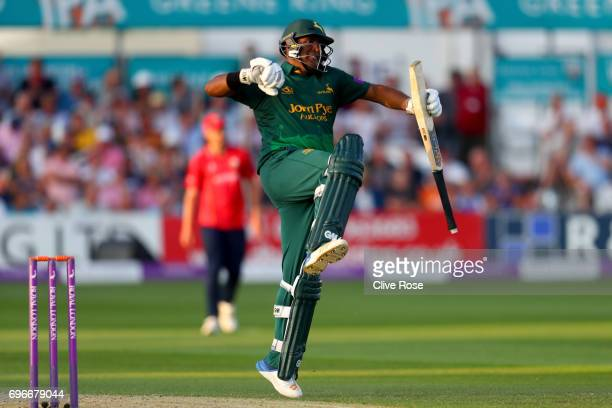 Samit Patel of Nottinghamshire celebrates his century during the Royal London OneDay Cup Semi Final between Essex and Nottinghamshire at Cloudfm...