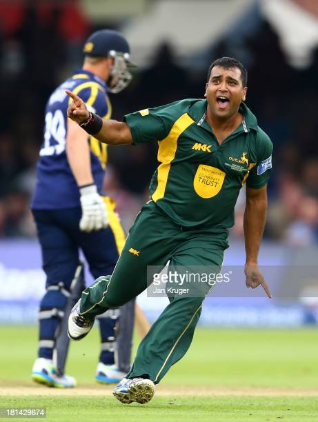 Samit Patel of Nottinghamshire celebrates the wicket of Murray Goodwin of Glamorgan during the Yorkshire Bank 40 Final match between Glamorgan and...