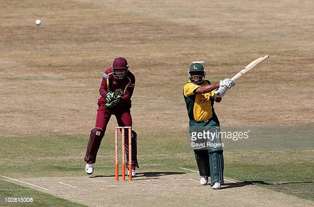 Samit Patel of Nottinghamshire hits a six during the Friends Provident T20 match between Northamptonshire and Nottinghamshire at the County Ground on...