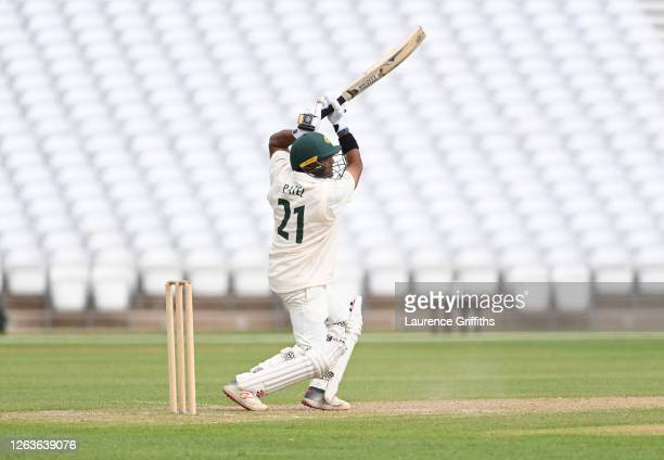 Samit Patel of Nottinghamshire hits out to the boundary during Day 3 of the Bob Willis Trophy match between Nottinghamshire and Derbyshire at Trent...