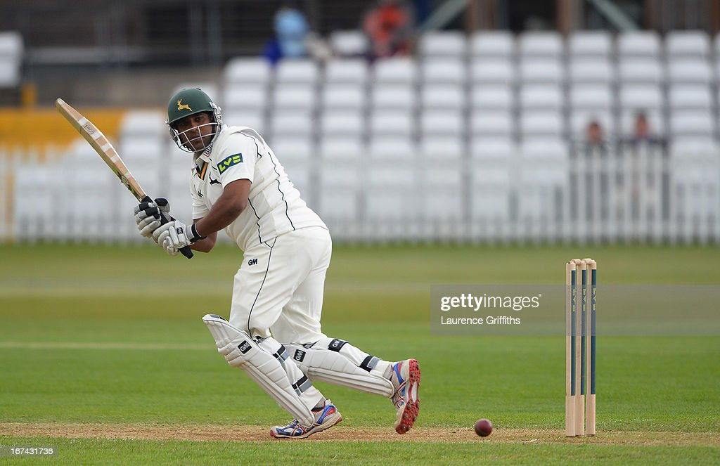 Samit Patel of Nottinghamshire hits out to the boundary during day two of the LV County Championship division one match between Derbyshire and Nottinghamshire at The County Ground on April 25, 2013 in Derby, England.