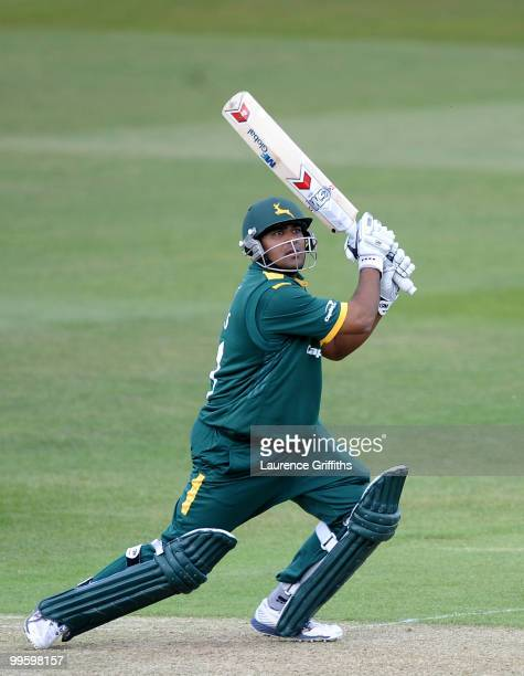 Samit Patel of Nottinghamshire hits the ball for six during the Clydesbank Bank 40 League match between Nottinghamshire Outlaws and Hampshire Royals...