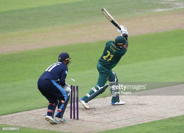 Samit Patel of Nottinghamshire is bowled by Wayne Madsen during the NatWest T20 Blast match between Nottinghamshire Outlaws and Derbyshire Falcons at...