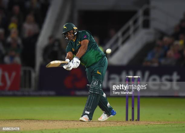 Samit Patel of Nottinghamshire Outlaws bats during the NatWest T20 Blast Quarter Final match between Nottinghamshire Outlaws and Somerset at Trent...