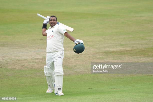 Samit Patel of Nottinghamshire raises his bat after scoring 200 runs during the Specsavers County Championship Division Two match between...